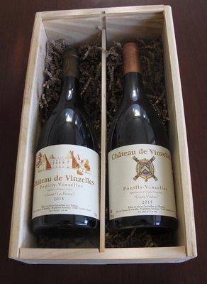 Geschenkkist met twee flessen Château de Vinzelles
