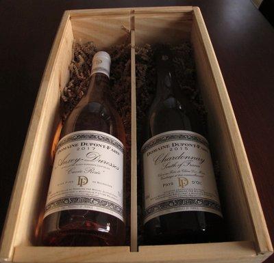 Geschenkkist met Domain Dupont-Fahn Auxey-Duresses 2017 en Dupont-Fahn Chardonnay 2015